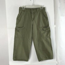 7add787fe9 Lee Womens Cargo Pants Olive Green Solid Mid Rise Relaxed Fit 100% Cotto.
