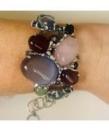 Unique Bracelet with Natural Multi-Color Stones Sterling Silver Bracelet  - $156.00