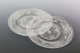 3 Fostoria Romance Salad Plates, Romance by Fostoria, Vintage Etched Pla... - $29.00