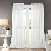 Dreaming Casa White Sheer Curtains Solid Voile Window Treatment Draperie... - $33.51