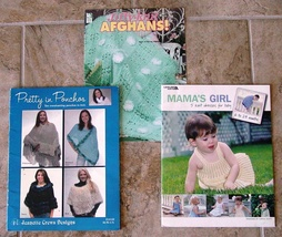 18 Projects to Knit-10 Adult Ponchos/5 Baby Dresses/3 Afghans-3 Booklets - $15.00