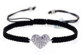 Heart Shape Macrame Shamballa Adjustable Bracelet Womens 925 Silver CZ J... - $49.00