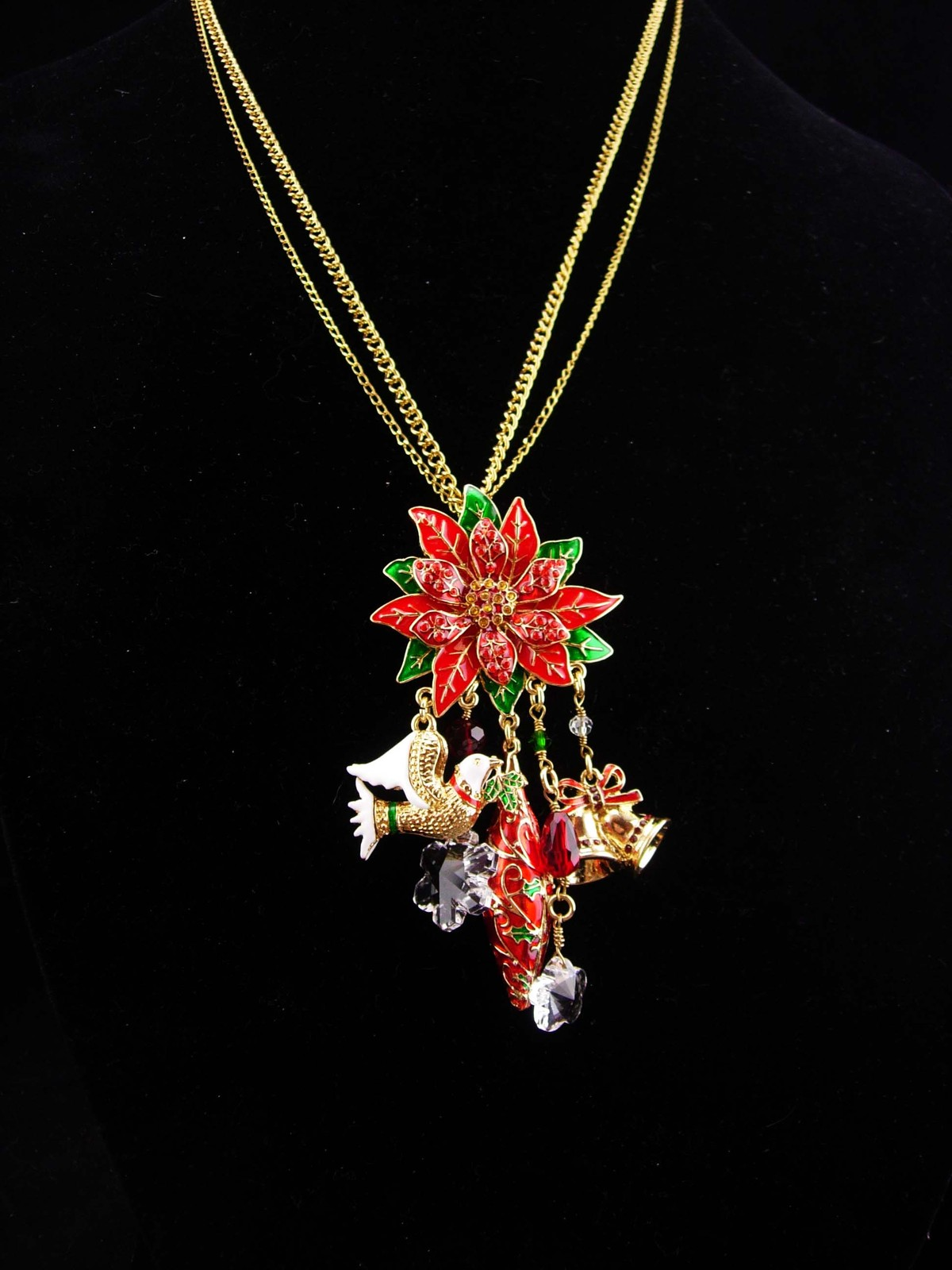 Ritzy couture necklace / vintage christmas earrings / costume jewelry lot / snow
