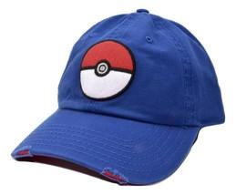 Nintendo Pokeman Pokeball Tattered Bill Adjustable Blue Baseball Cap Dad Hat - $18.04