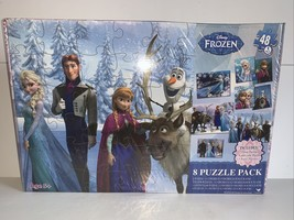NEW Disney Frozen Jigsaw Puzzle 8 Pack Variety W/ Wood Storage Ages 5+ F... - $18.65
