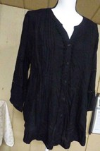 $49.00 JM Collection Pleated Crochet-Trim Blouse, Large, Deep Black - $16.09