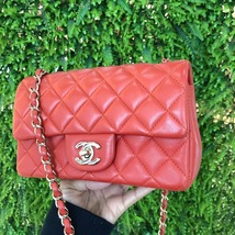 100% Auth Chanel RED Quilted Lambskin Large Mini 20CM Rectangular Flap Bag image 3