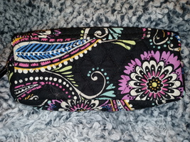Vera Bradley cosmetic makeup bag case travel size zip top vinyl interior - $13.00