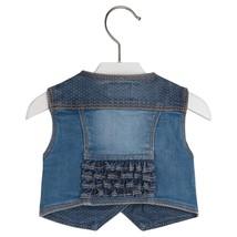 Mayoral Baby Girls 0M-24M Flap Pocket Ruffle Back Denim Jean Vest image 2