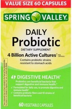 Spring Valley Daily Probiotic Vegetable Capsules, 4B CFU, 60 Ct - $37.14