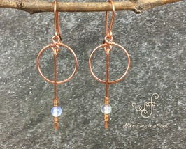 Handmade copper earrings: small hoops and long dangle with opal bead - $26.50