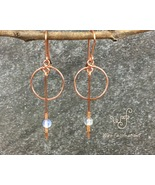 Handmade copper earrings: small hoops and long dangle with opal bead - $27.00