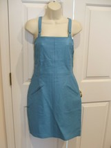 NWT $249 newport news/styleworks WINTER BLUE all leather sheath dress size 6 - $118.79