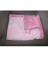 """Carters Just One Year Baby Blanket Plush Pink Green Flowers 30"""" x 40"""" soft - $20.77"""