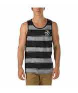 NEW VANS OFF THE WALL BIDWELL TANK TOP MEN'S BLACK GREY GRAY STRIPED NWT... - £16.73 GBP
