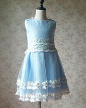 Light-blue Lace Tutu High Waist Dress Blue Flower Girl Dress Birthday Dress NWT