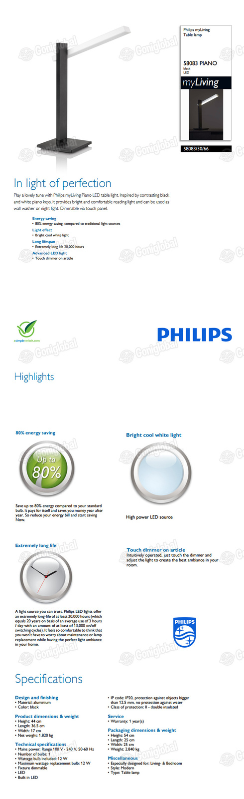 PHILIPS PHILIPS Piano Table LED Lamp 58083 / Desk Lamp / Table Light / 4 Levels