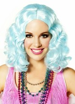 Icy Blue Curly Flapper Costume Wig Roaring 20s Carnival Festival Mardi Gras - $19.55
