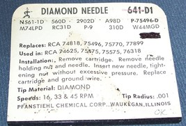 641-D1 RECORD PLAYER NEEDLE STYLUS for RCA 75497 RCA 75475 Pfanstiehl image 2