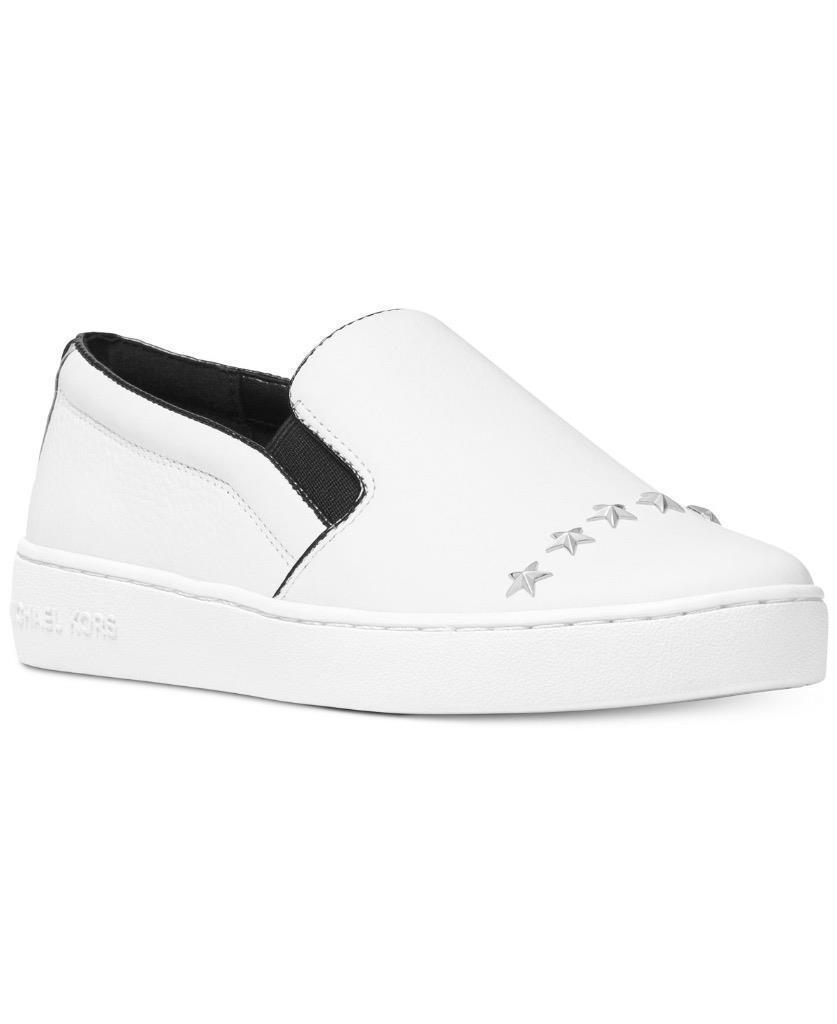 Michael Kors MK Women's Keaton Slip On Leather Star Studs Shoes OPT Silver White