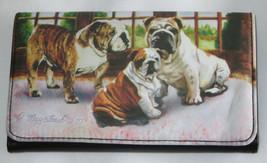 Bulldog Wallet Dogs Removable Checkbook Inside Id Card Slots Bills New  - $18.80