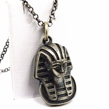 Pendant Necklace, 925 Silver, Burnished Satin, Head Pharaoh, Chain Rolo ' - $104.66