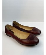 Frye Womens Carson Tab Ballet Flat Shoes 7.5 Bordeaux Red Oiled Leather ... - $59.39
