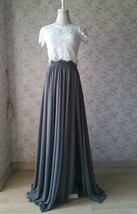 Split Maxi Chiffon Skirt Blue Gray White Wedding Chiffon Skirt Bridesmaid Outfit image 6