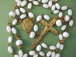 Vintage Catholic Rosary  St. JOSEPH & Child Jesus medal White glass beads - $29.92