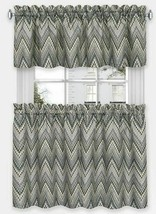 "3 pc Curtains Set: 2 Tiers & Valance (58"" x 14"") CHARCOAL ZIGZAGS, AVERY... - $27.71"