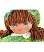 Precious Mine baby doll Well Made Toys cloth paisley dress brown yarn ha... - $17.72