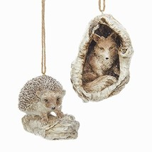 Woodland Fox and Hedgehog 3.5 Inch Holiday Ornament Figurines Set of 2 - $30.06