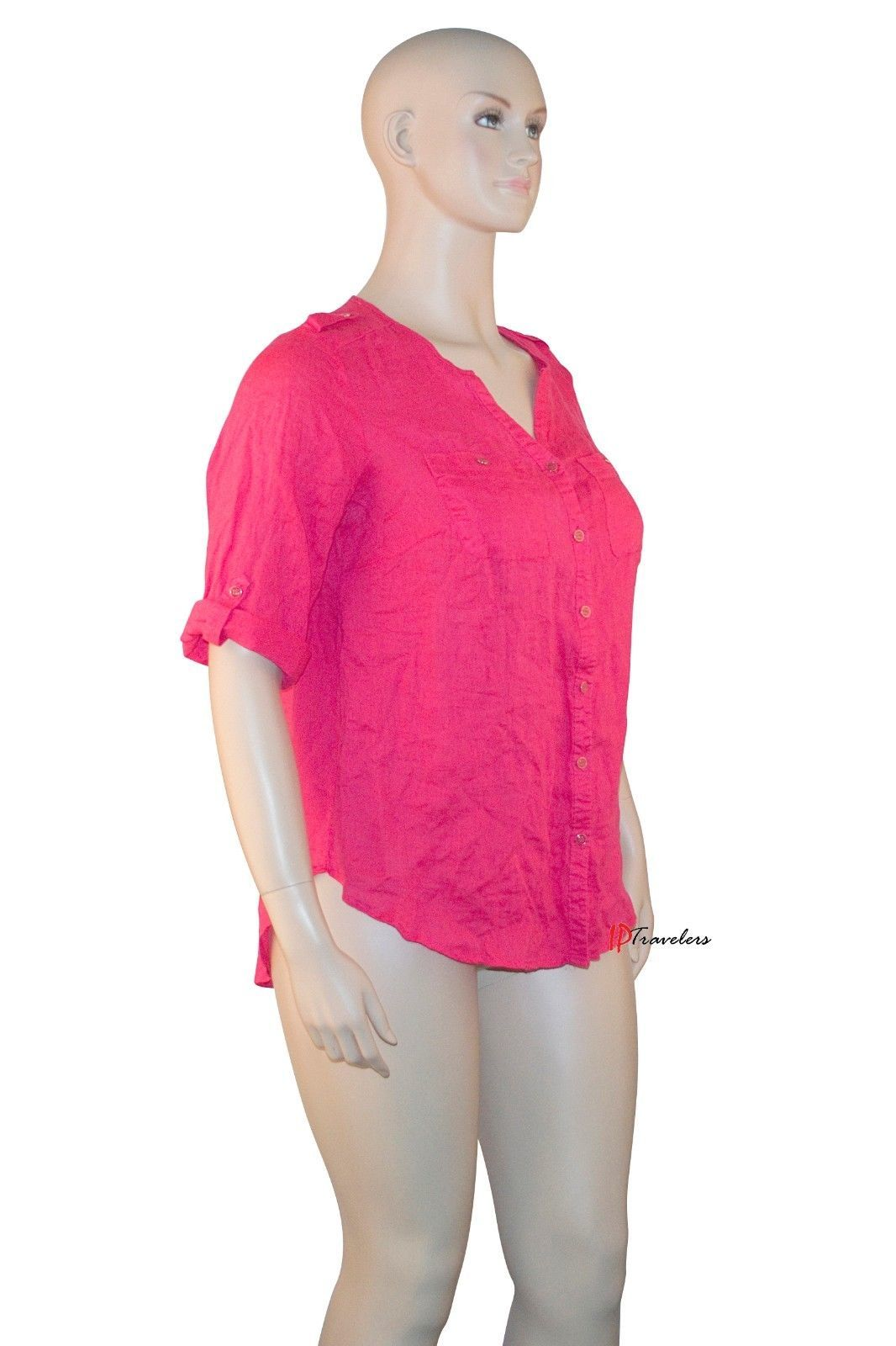 JM Collection Women's Top Blouse Plus 14W Radiant Pink 100% Linen 3/4 Sleeve $56