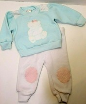 Vintage Childwise Baby Girl Sweat Pant Outfit Size 0-6 Months Blue Bear ... - $9.90