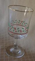 5 Arby's Libby Holly Glasses Goblets stem  drinkware Christmas gold trim... - $14.50