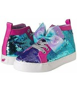 JoJo Siwa Girls' Reversible Sequins High Top Sneakers, Silver/Blue Size 2 - $41.57