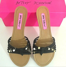 Betsey Johnson Sandals Black Brown with Gold Charms Size 6.5 NIB $78.00 - $29.69