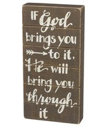 "If God Brings You To It Box Sign Primitives Kathy 6"" x 12"" wood - $24.95"