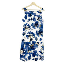ANN TAYLOR Floral A Line Dress Sz 10 Blue and White Cotton Sleevelees NWT - $31.78