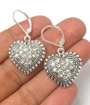 Drop Hearts Silver Plated Drop Earrings - $7.92