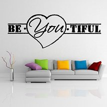 ( 55'' x 20'') Vinyl Wall Decal Quote Be*You*tiful with Heart Shape/ Inspiration - $37.34