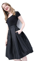 Women BLACK A-Line Ruffle Skirt Lady Taffeta High Waist Midi Pleated Party Skirt image 1
