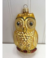 Glass gold glitter Large owl ornament Christmas Xmas 23202 - $34.64
