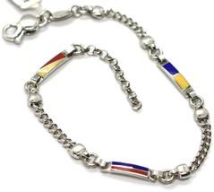 925 STERLING SILVER BRACELET, GLAZED NAUTICAL FLAGS, ALTERNATE GOURMETTE CHAIN image 1