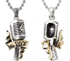 Let's Rock n Roll Singer Gold Plated Microphone Skull Pendant ULP28 Alchemy - $34.95