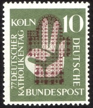 1956 German Catholic Day in Cologne Postage Stamp Catalog 750 MNH