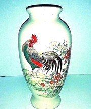 "Rooster Vase Porcelain Hand Painted Made In Japan 11"" Tall Lotus Flower ... - $37.04"