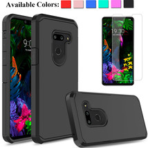 For LG G8 ThinQ Shockproof Hybrid Armor Case Cover With Glass Screen Pro... - $16.00