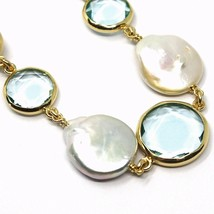 """925 STERLING SILVER YELLOW BRACELET 18cm, 7.1"""", NUGGET, BLUE GLASS PASTE, PEARL image 2"""