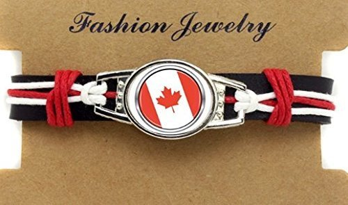 Canada Adjustable Leather Wristband Jewelry Bracelet - Shipped from U.S.A.